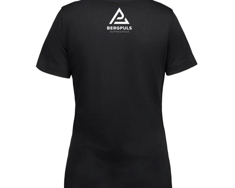 Damen T-Shirt Bergpuls Schwarz Rückseite