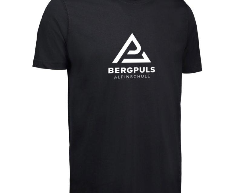 Herren T-Shirt Bergpuls Schwarz Vorderseite